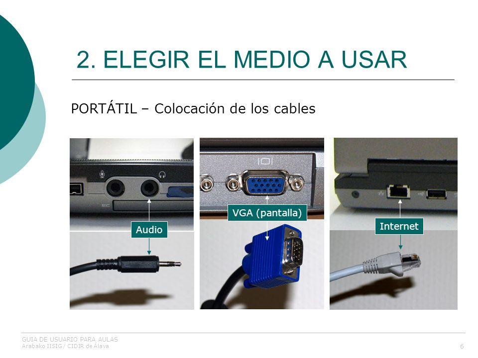 2. ELEGIR EL MEDIO A USAR PORTÁTIL – Colocación de los cables