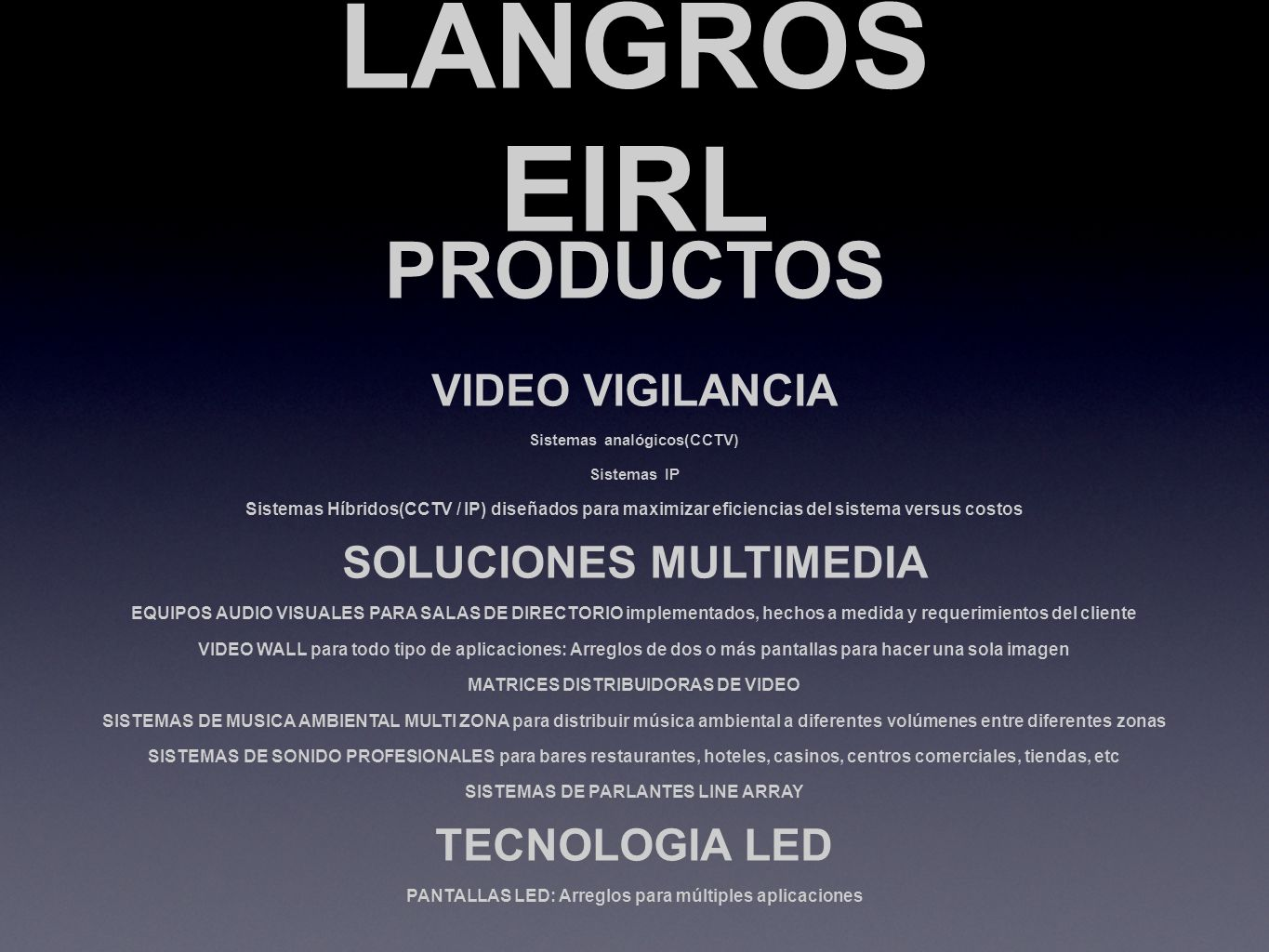 LANGROS EIRL PRODUCTOS VIDEO VIGILANCIA SOLUCIONES MULTIMEDIA