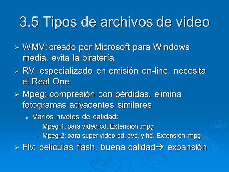 3.5 Tipos de archivos de video