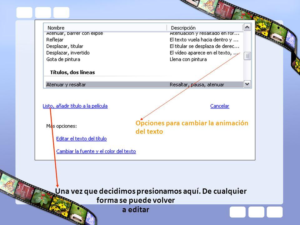 Opciones para cambiar la animación del texto