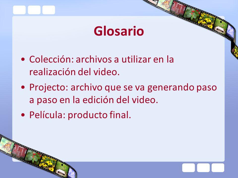 Glosario Colección: archivos a utilizar en la realización del video.
