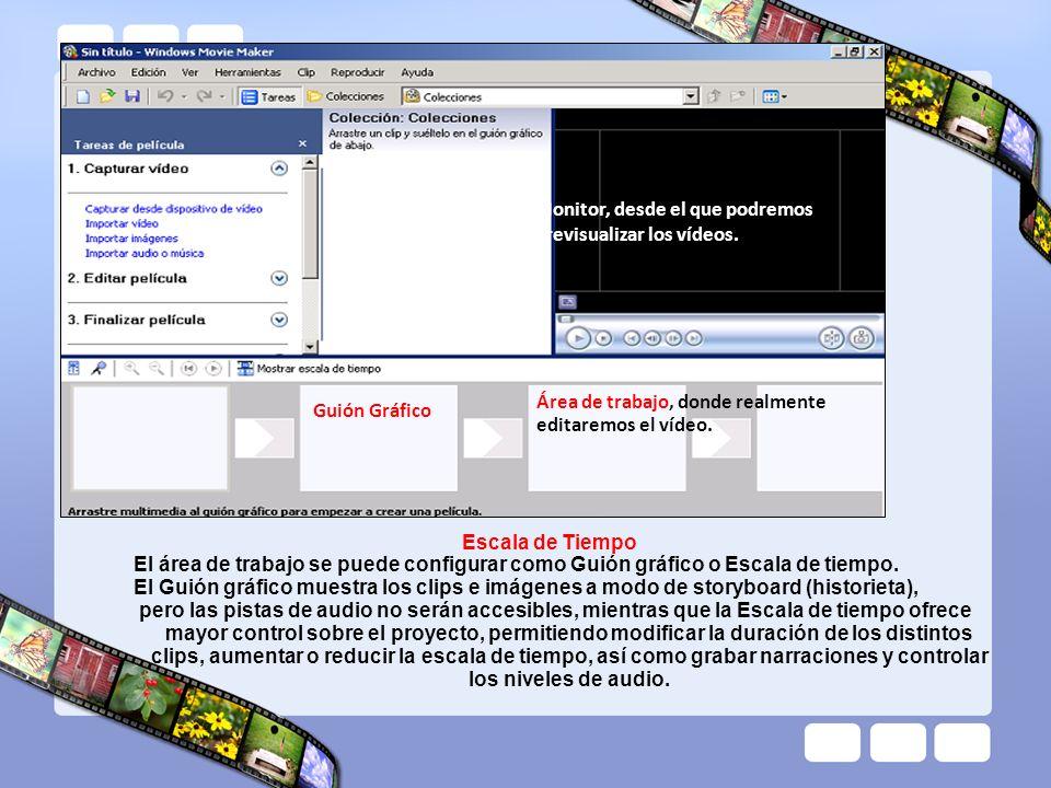Guión Gráfico Monitor, desde el que podremos previsualizar los vídeos. Área de trabajo, donde realmente editaremos el vídeo.