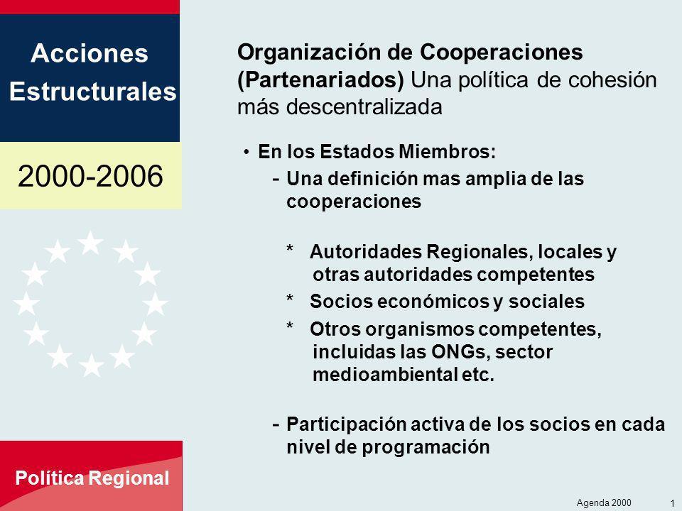 Organización de Cooperaciones (Partenariados) Una política de cohesión más descentralizada