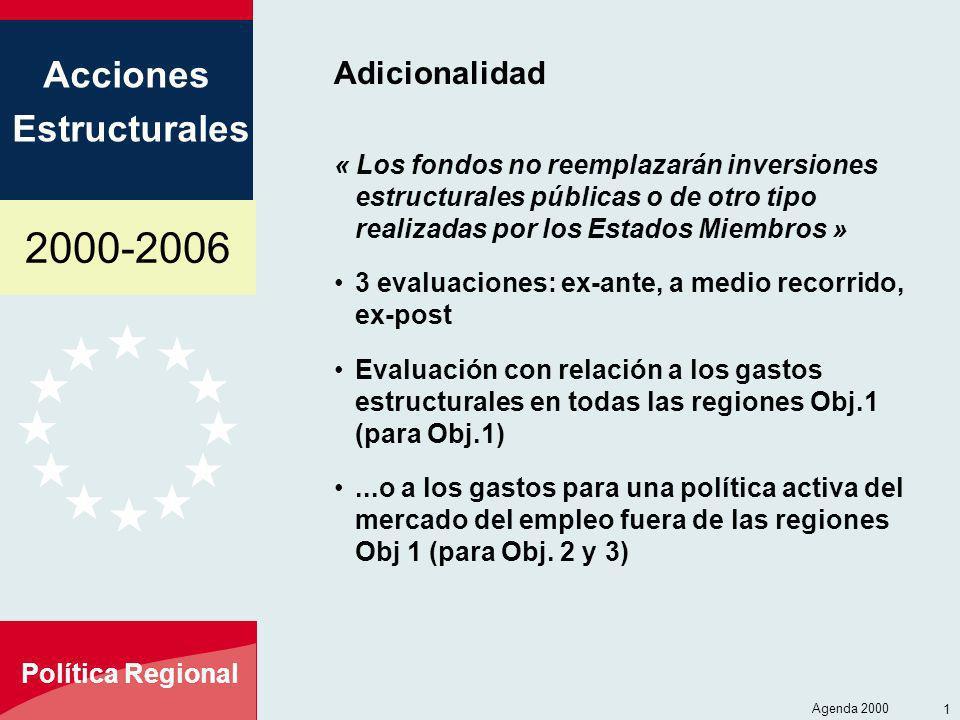 Adicionalidad « Los fondos no reemplazarán inversiones estructurales públicas o de otro tipo realizadas por los Estados Miembros »