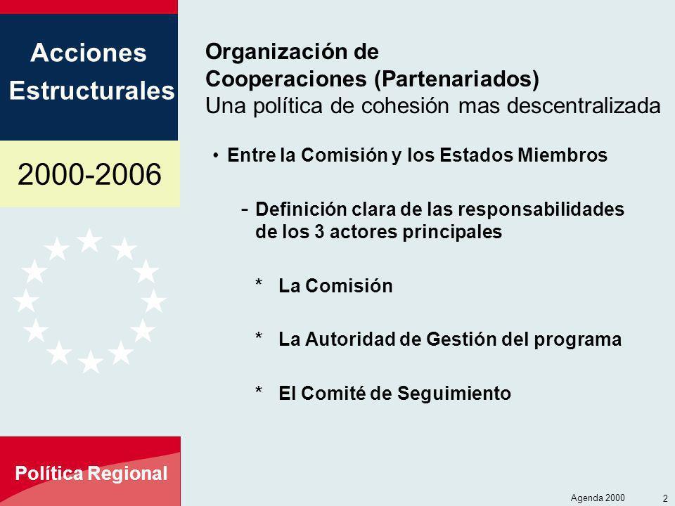 Organización de Cooperaciones (Partenariados) Una política de cohesión mas descentralizada