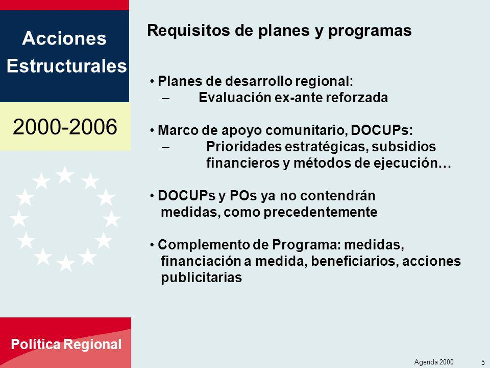 Requisitos de planes y programas