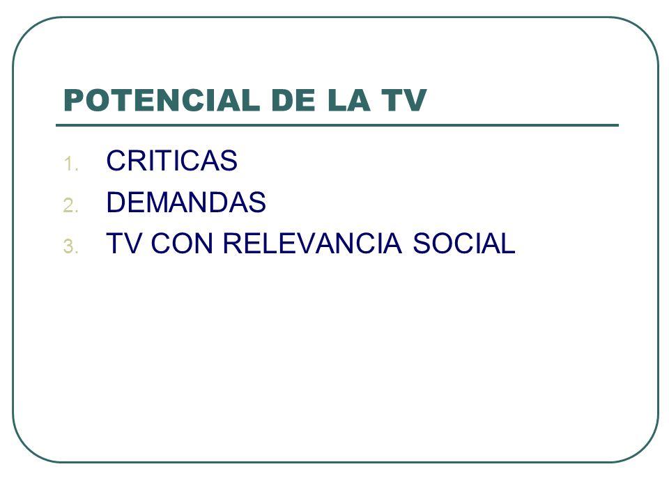 POTENCIAL DE LA TV CRITICAS DEMANDAS TV CON RELEVANCIA SOCIAL