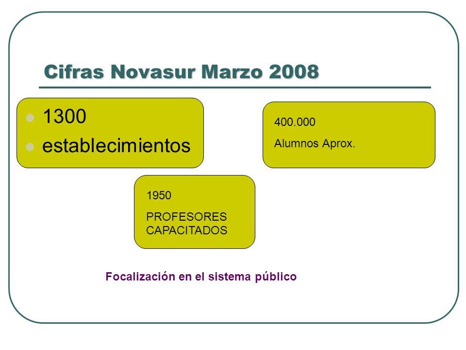 1300 establecimientos Cifras Novasur Marzo 2008 400.000 Alumnos Aprox.