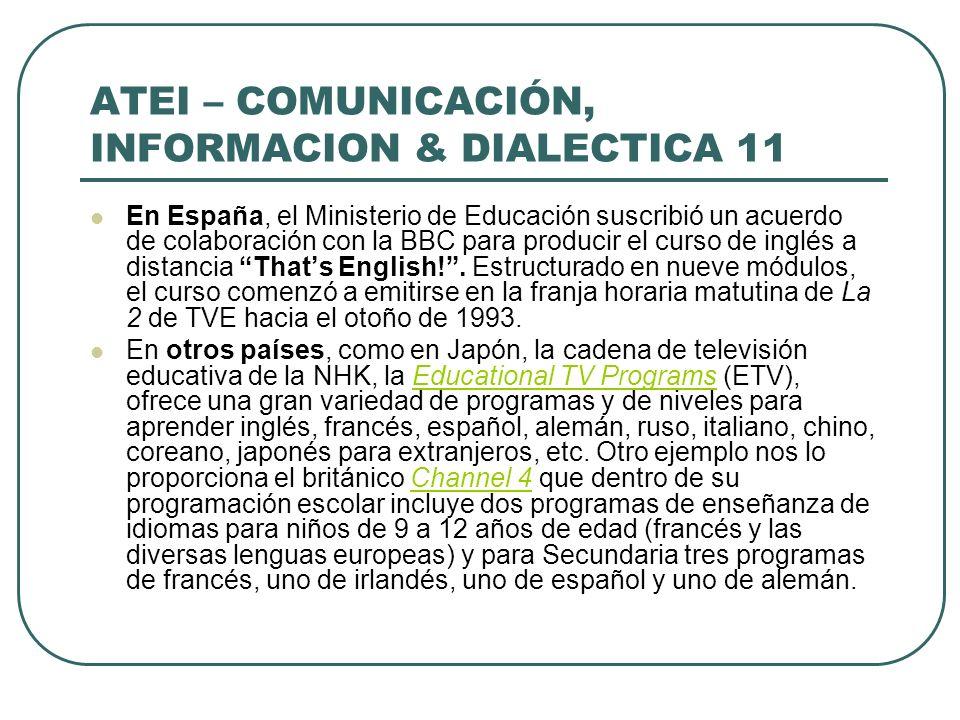 ATEI – COMUNICACIÓN, INFORMACION & DIALECTICA 11