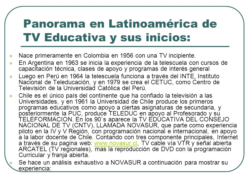 Panorama en Latinoamérica de TV Educativa y sus inicios: