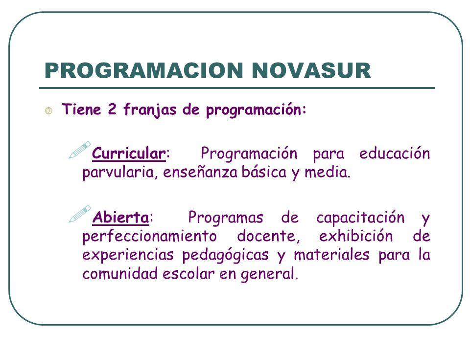 PROGRAMACION NOVASUR Tiene 2 franjas de programación: Curricular: Programación para educación parvularia, enseñanza básica y media.