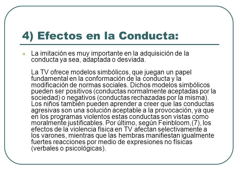 4) Efectos en la Conducta: