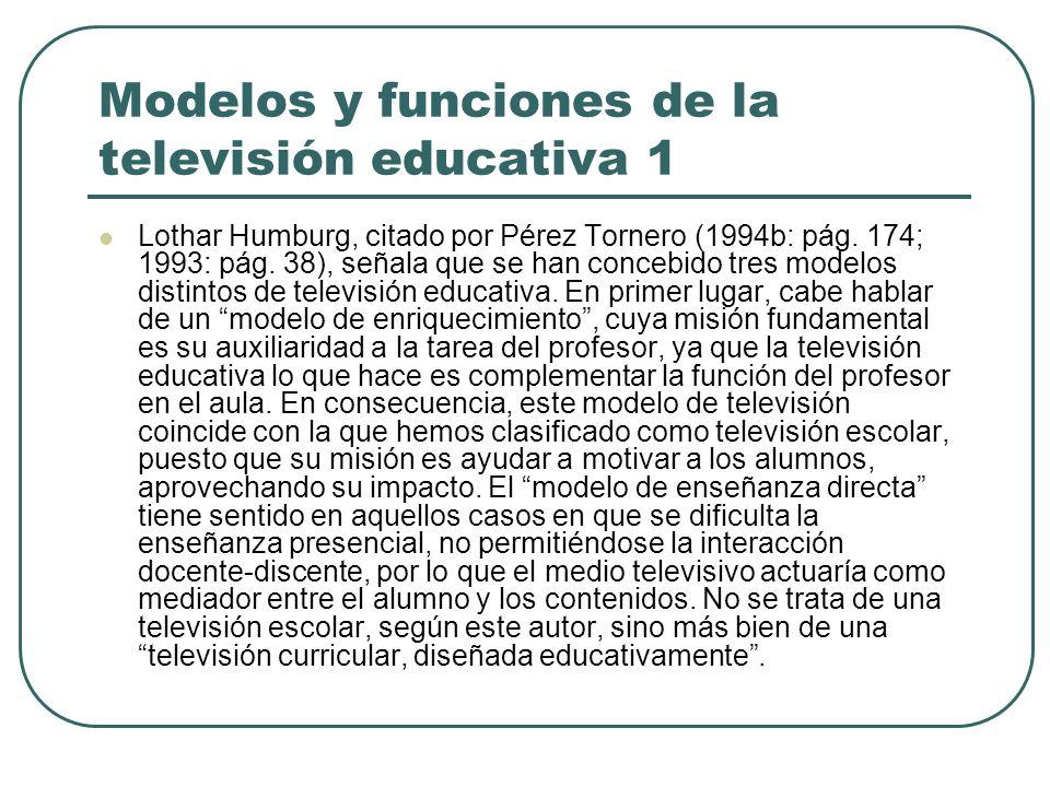 Modelos y funciones de la televisión educativa 1