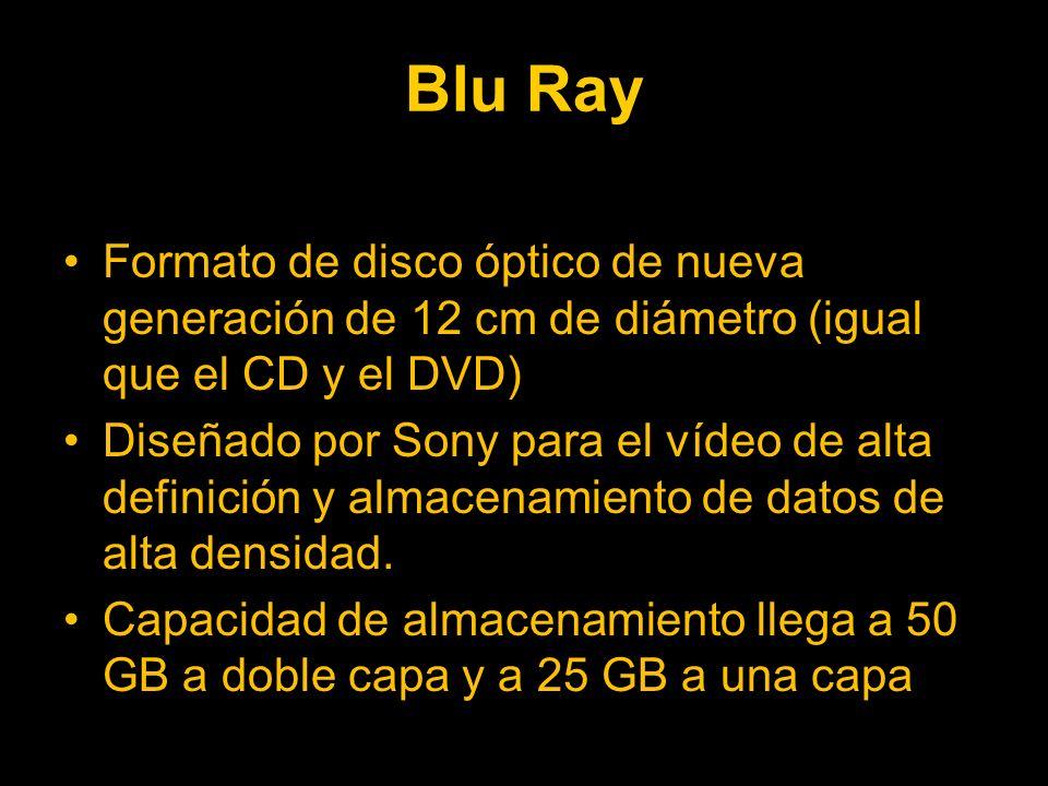 Blu Ray Formato de disco óptico de nueva generación de 12 cm de diámetro (igual que el CD y el DVD)