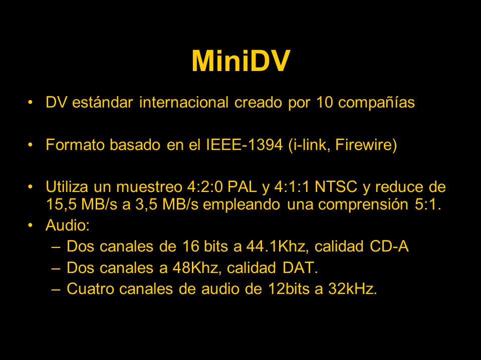 MiniDV DV estándar internacional creado por 10 compañías