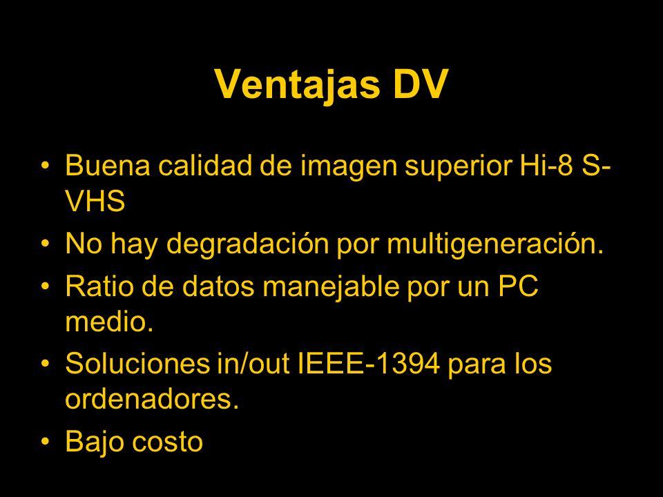 Ventajas DV Buena calidad de imagen superior Hi-8 S-VHS