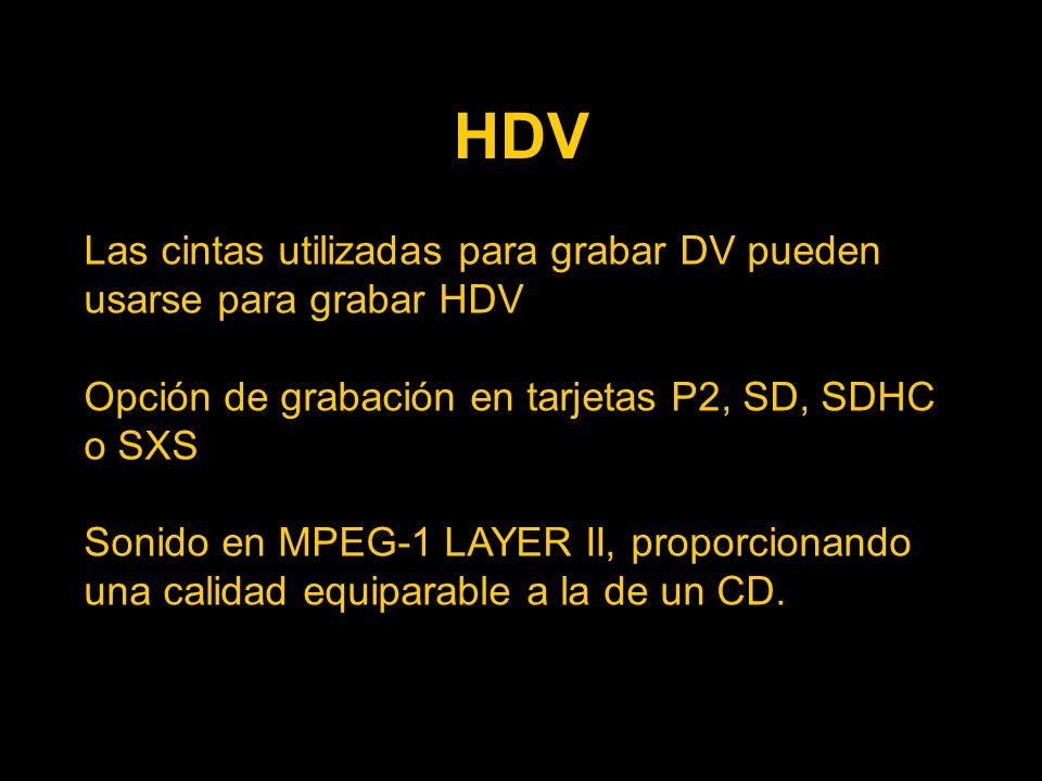 HDV Las cintas utilizadas para grabar DV pueden usarse para grabar HDV