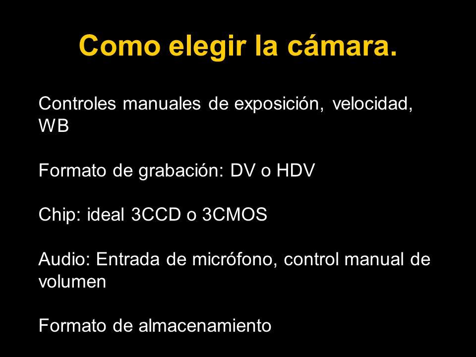 Como elegir la cámara. Controles manuales de exposición, velocidad, WB