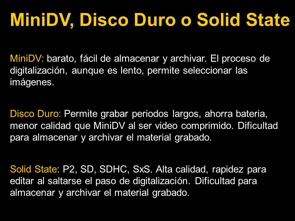 MiniDV, Disco Duro o Solid State