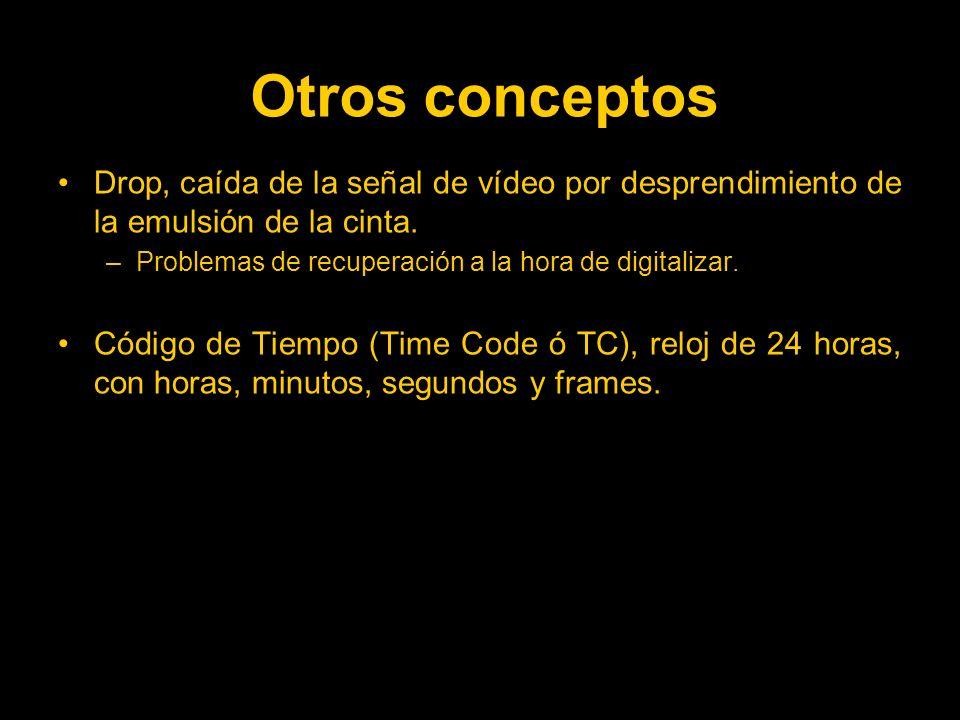 Otros conceptos Drop, caída de la señal de vídeo por desprendimiento de la emulsión de la cinta. Problemas de recuperación a la hora de digitalizar.