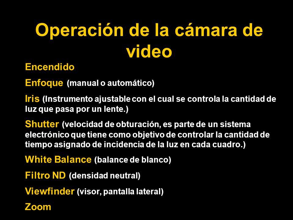 Operación de la cámara de video