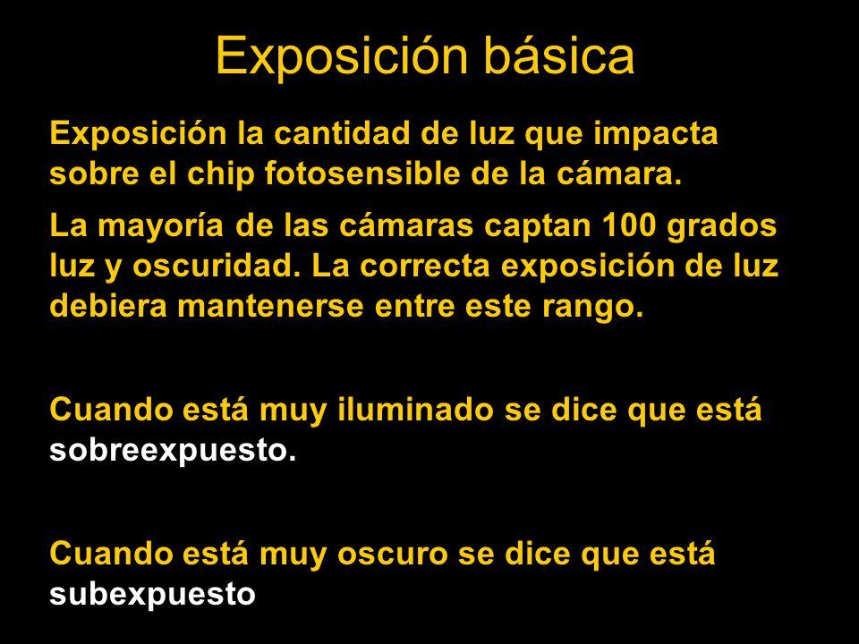 Exposición básica Exposición la cantidad de luz que impacta sobre el chip fotosensible de la cámara.
