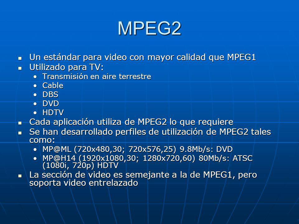 MPEG2 Un estándar para video con mayor calidad que MPEG1