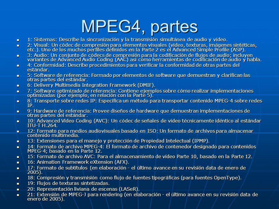 MPEG4, partes 1: Sistemas: Describe la sincronización y la transmisión simultánea de audio y vídeo.