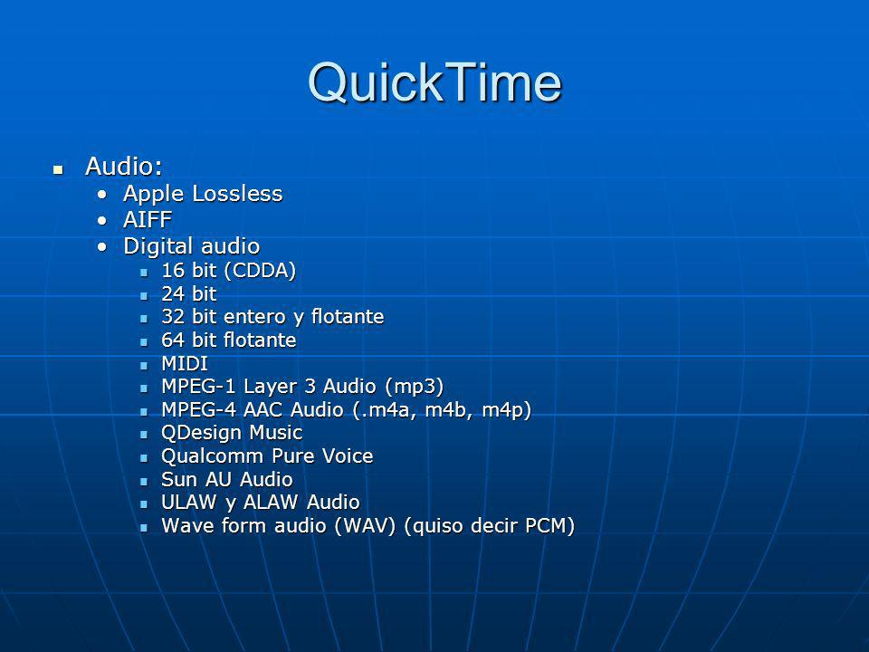 QuickTime Audio: Apple Lossless AIFF Digital audio 16 bit (CDDA)