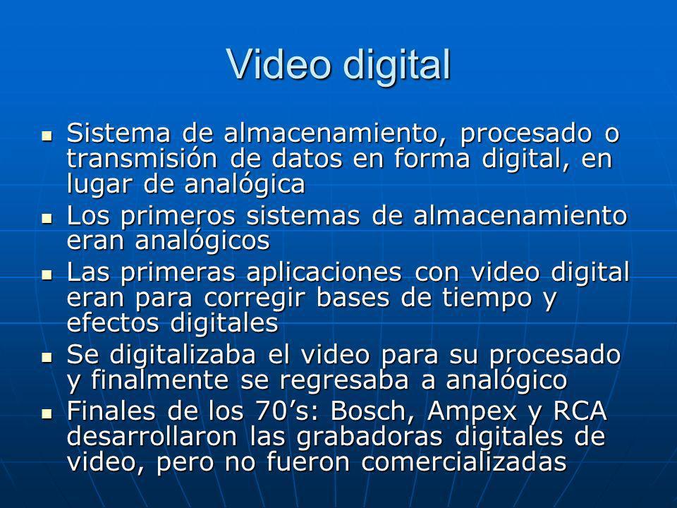 Video digital Sistema de almacenamiento, procesado o transmisión de datos en forma digital, en lugar de analógica.