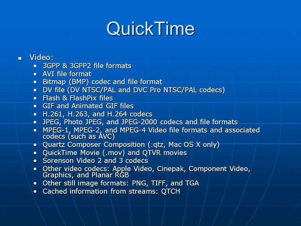 QuickTime Video: 3GPP & 3GPP2 file formats AVI file format