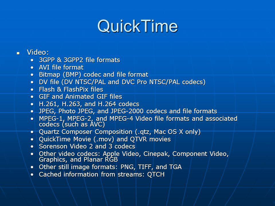 QuickTime Video: 3GPP & 3GPP2 file formats AVI file format