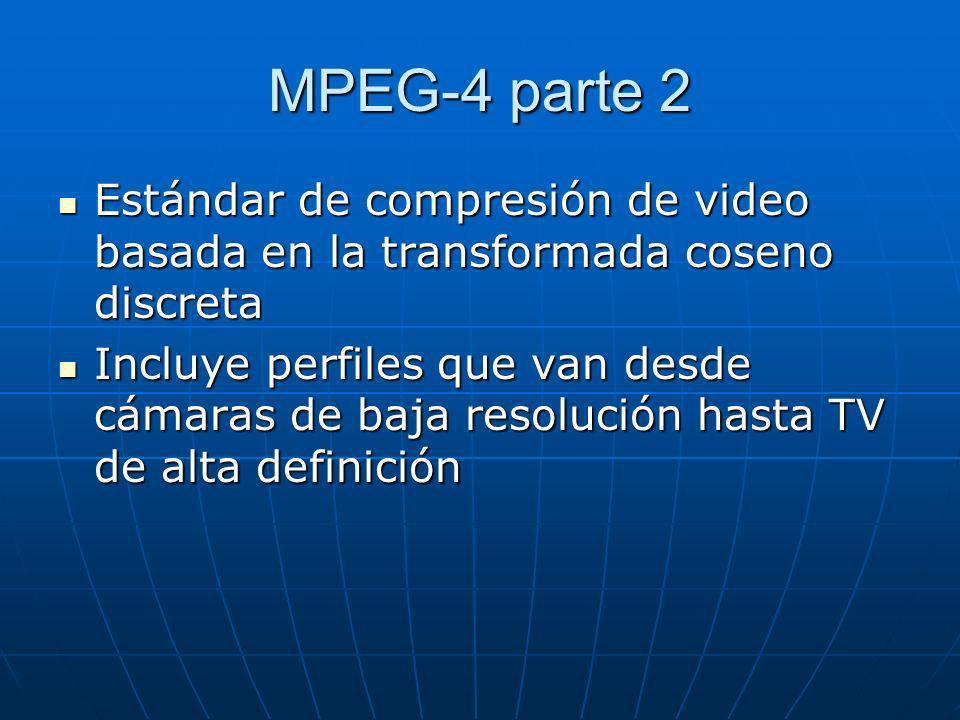 MPEG-4 parte 2 Estándar de compresión de video basada en la transformada coseno discreta.