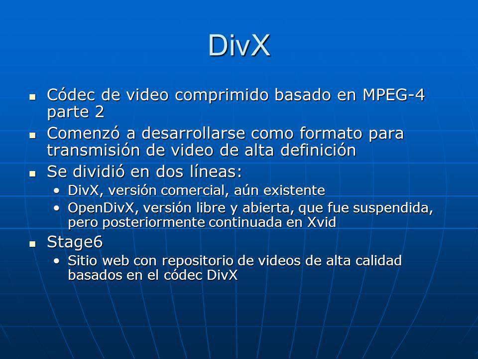 DivX Códec de video comprimido basado en MPEG-4 parte 2