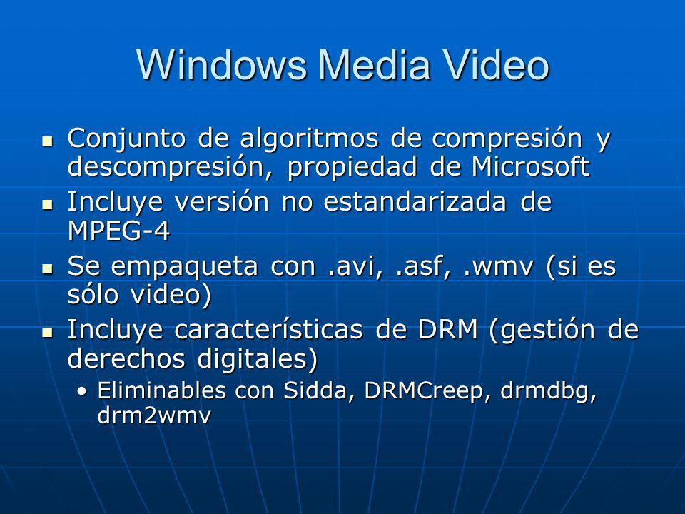 Windows Media Video Conjunto de algoritmos de compresión y descompresión, propiedad de Microsoft. Incluye versión no estandarizada de MPEG-4.