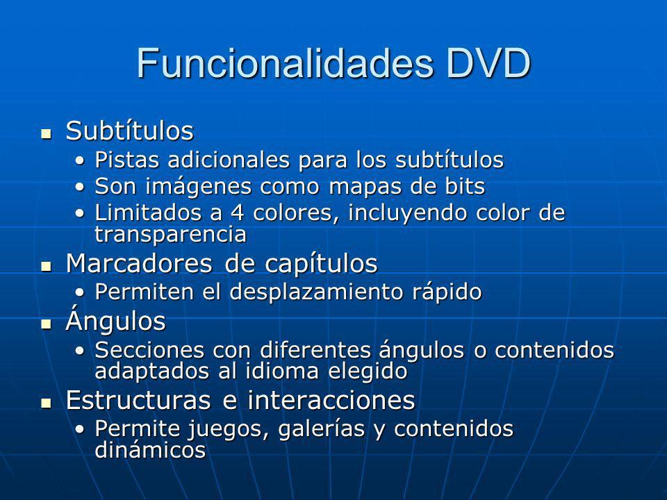 Funcionalidades DVD Subtítulos Marcadores de capítulos Ángulos