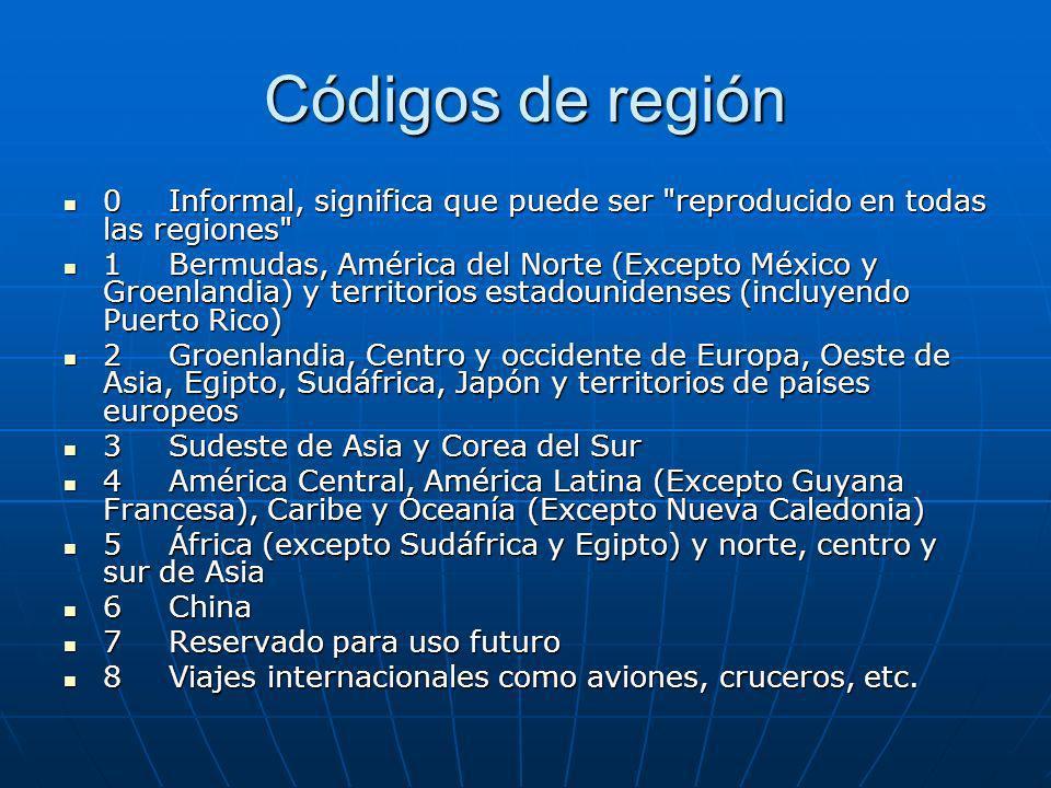 Códigos de región 0 Informal, significa que puede ser reproducido en todas las regiones