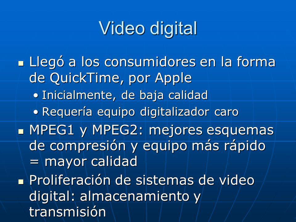 Video digital Llegó a los consumidores en la forma de QuickTime, por Apple. Inicialmente, de baja calidad.