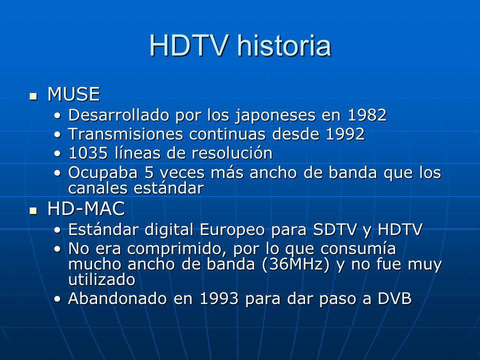 HDTV historia MUSE HD-MAC Desarrollado por los japoneses en 1982