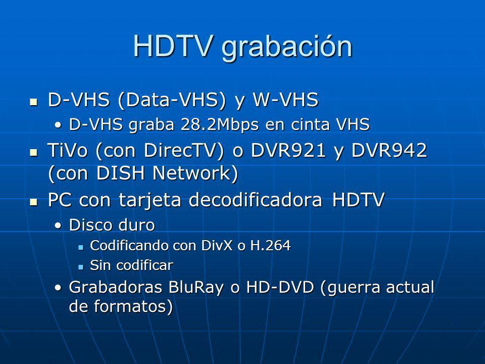 HDTV grabación D-VHS (Data-VHS) y W-VHS