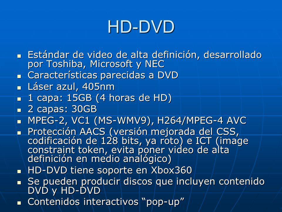 HD-DVD Estándar de video de alta definición, desarrollado por Toshiba, Microsoft y NEC. Características parecidas a DVD.