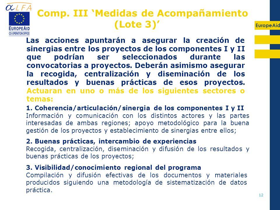 Comp. III 'Medidas de Acompañamiento (Lote 3)'