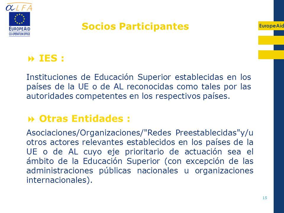 Socios Participantes IES : Otras Entidades :