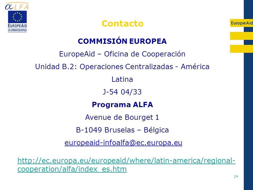 Contacto COMMISIÓN EUROPEA EuropeAid – Oficina de Cooperación