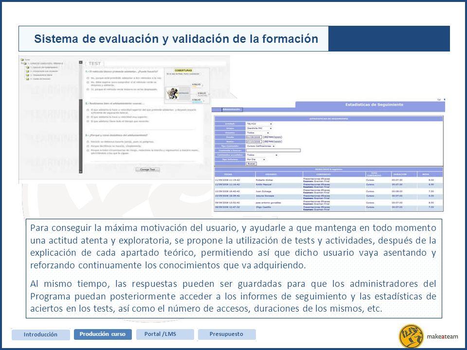 Sistema de evaluación y validación de la formación