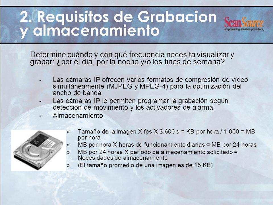 2. Requisitos de Grabacion y almacenamiento