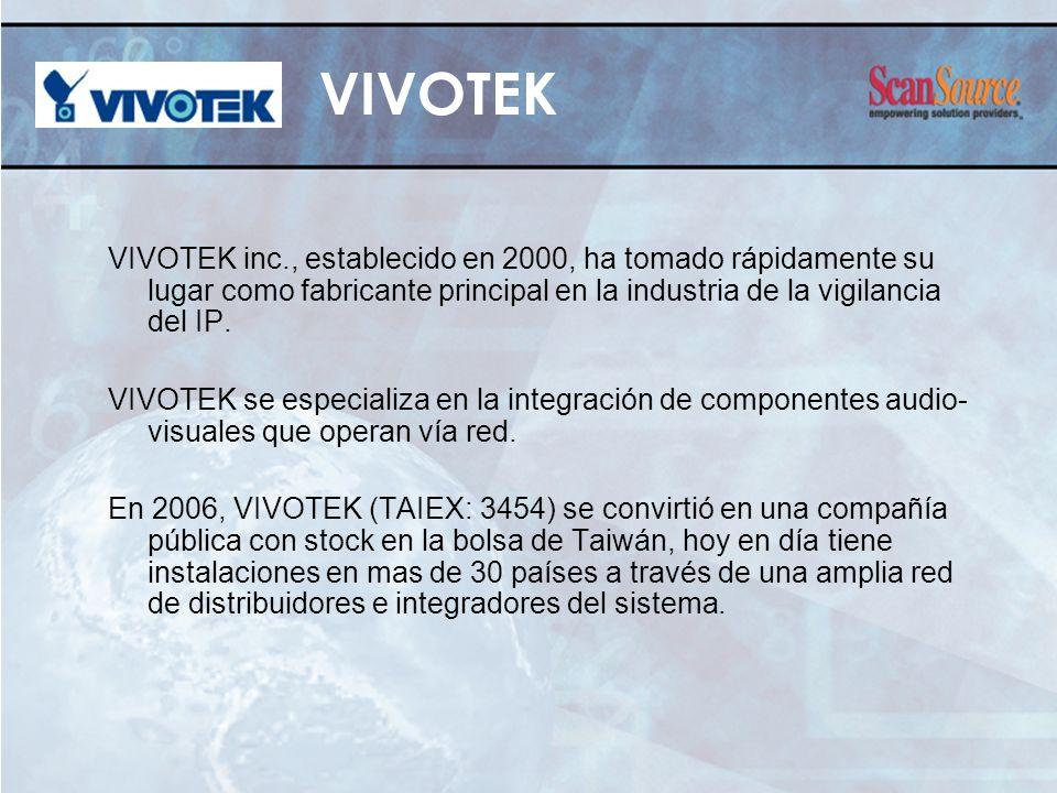 VIVOTEK VIVOTEK inc., establecido en 2000, ha tomado rápidamente su lugar como fabricante principal en la industria de la vigilancia del IP.