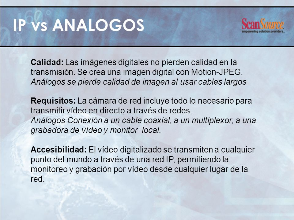 IP vs ANALOGOS