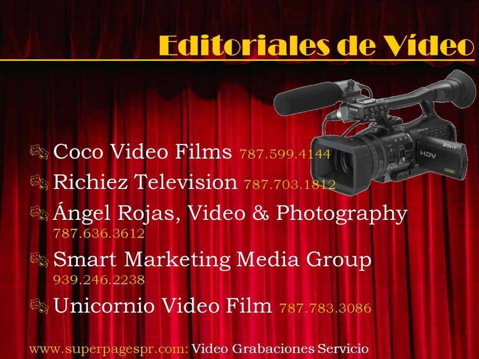 Editoriales de Vídeo Coco Video Films 787.599.4144