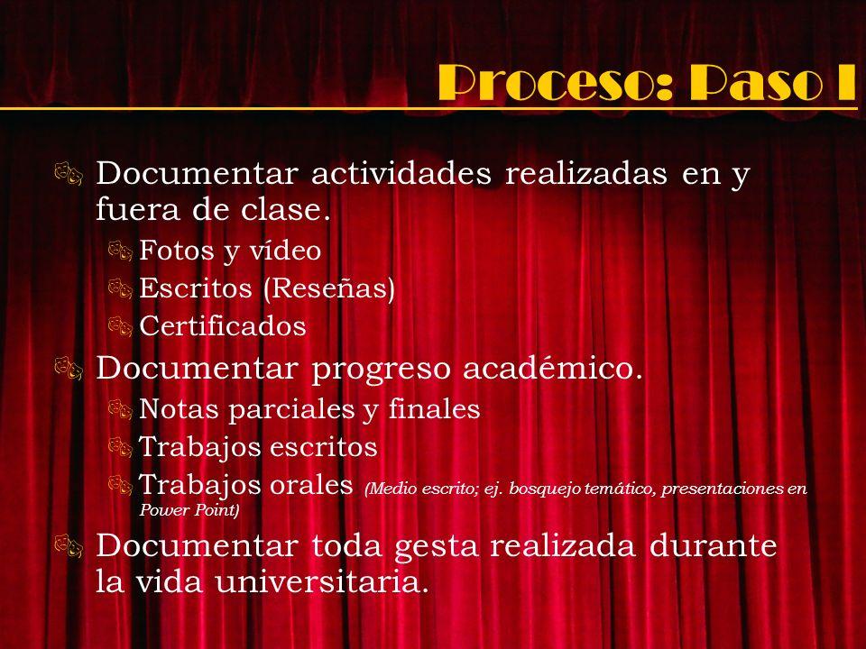 Proceso: Paso I Documentar actividades realizadas en y fuera de clase.